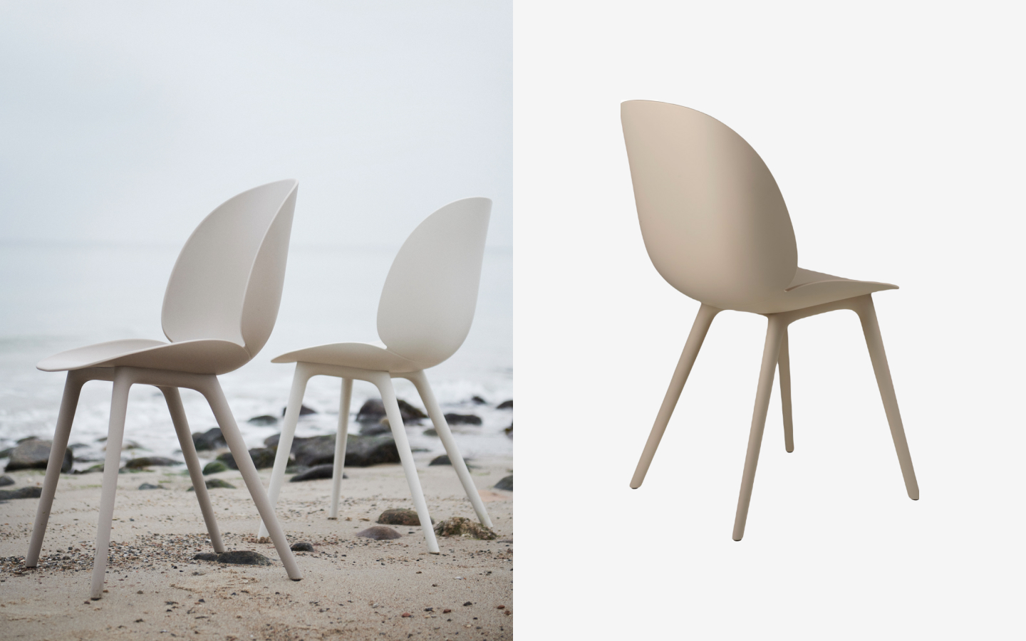 Off-white plastic beetle dining chair
