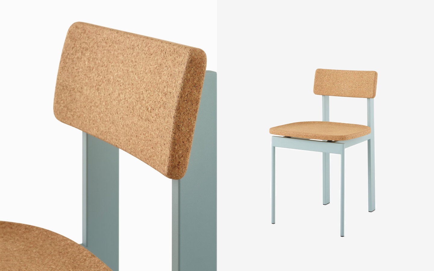 Sage green dining chair with cork backrest and seat