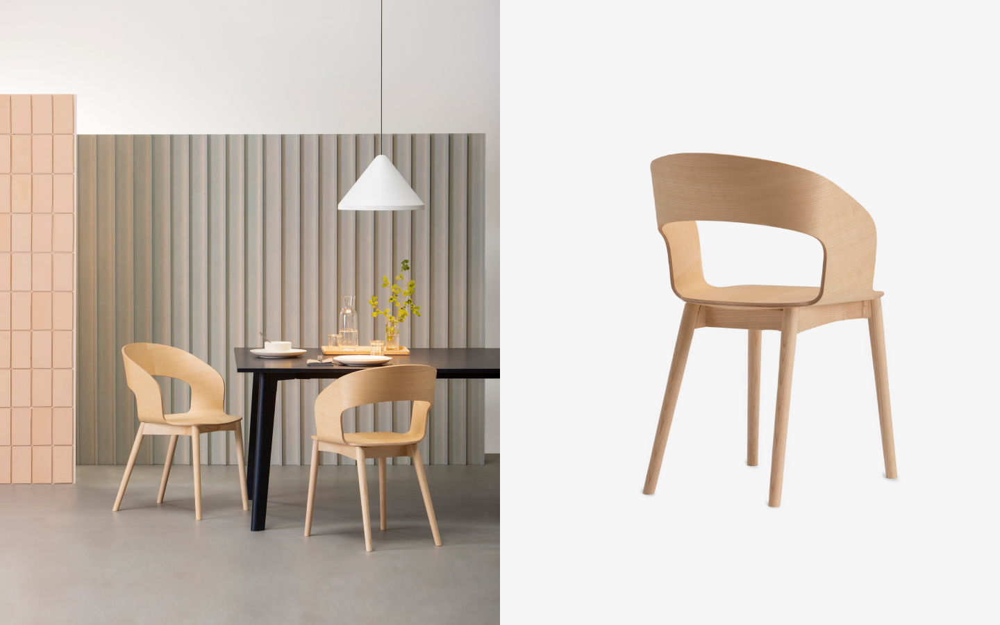Bent wood chair made from light wood