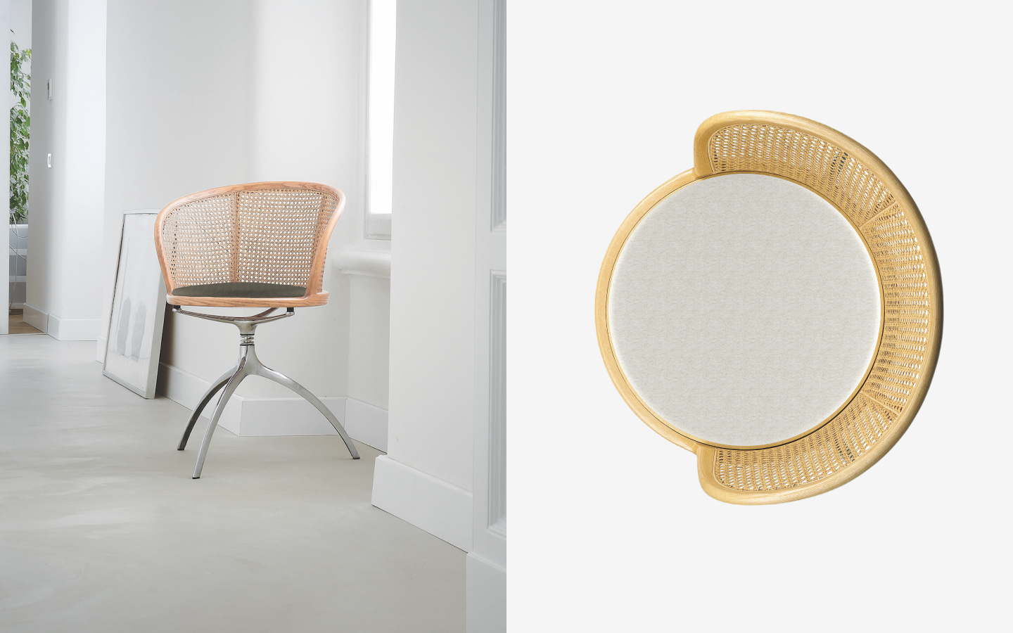 Swivel chair with three-legged metal base and rattan back rest