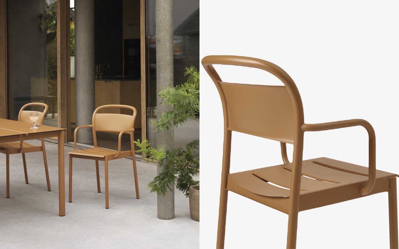 Metall outdoor armchair in dark mustard