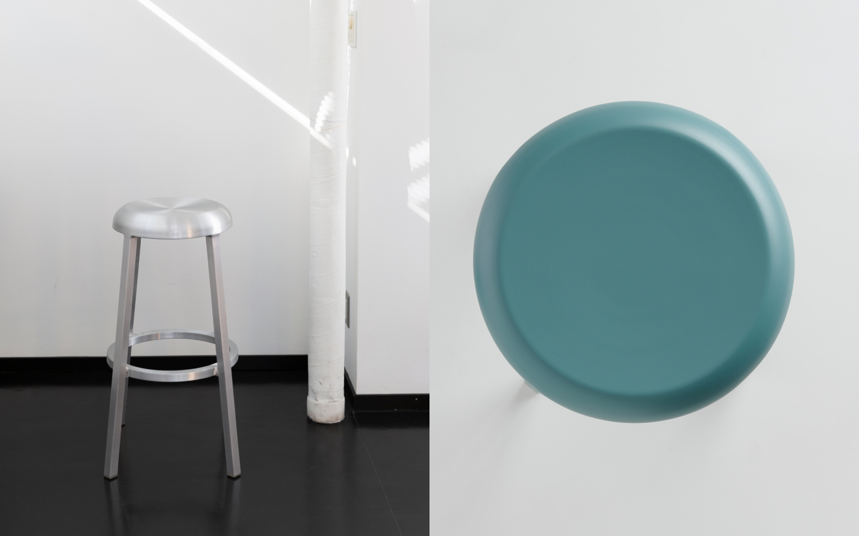 Round brushed steel barstool