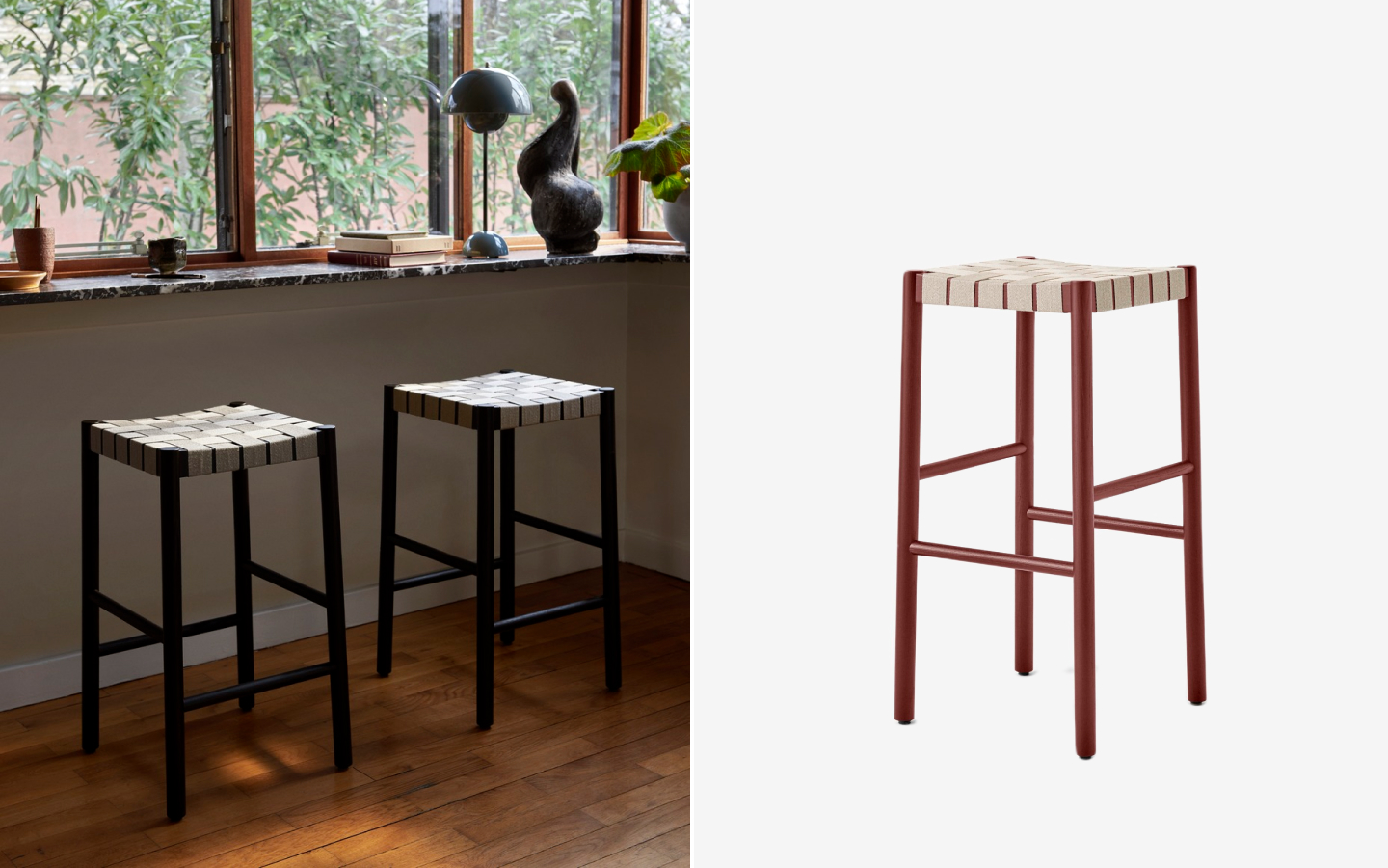 Wooden barstool with woven seat