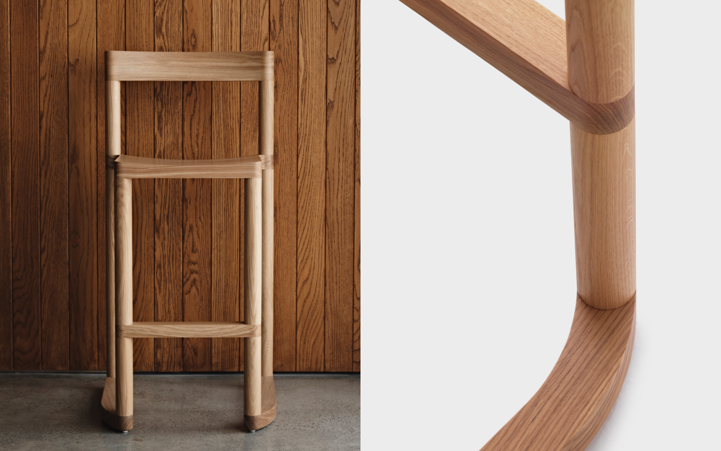 Wooden bar stool with tubular legs and curved feet