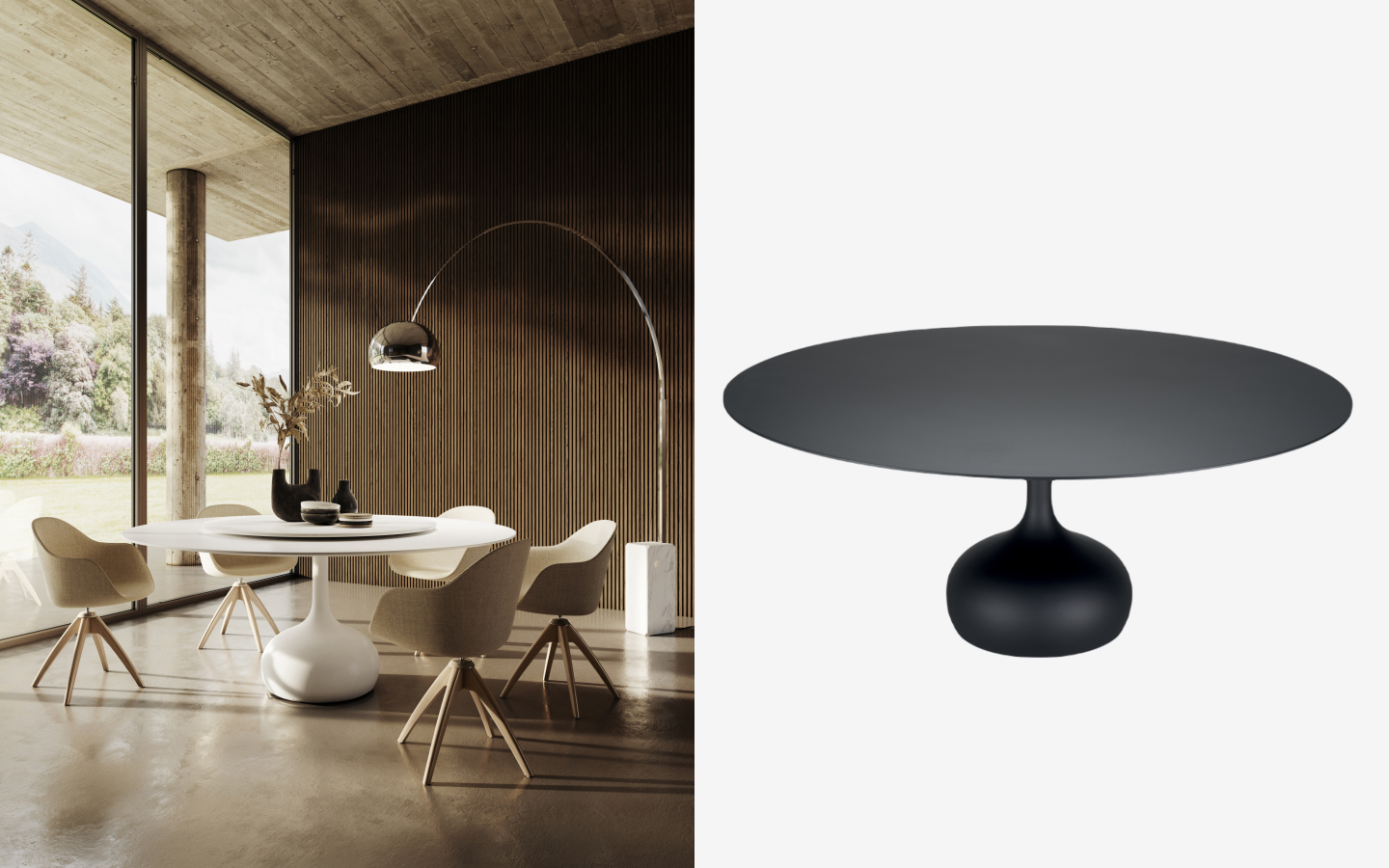 Round dining tables in black and white