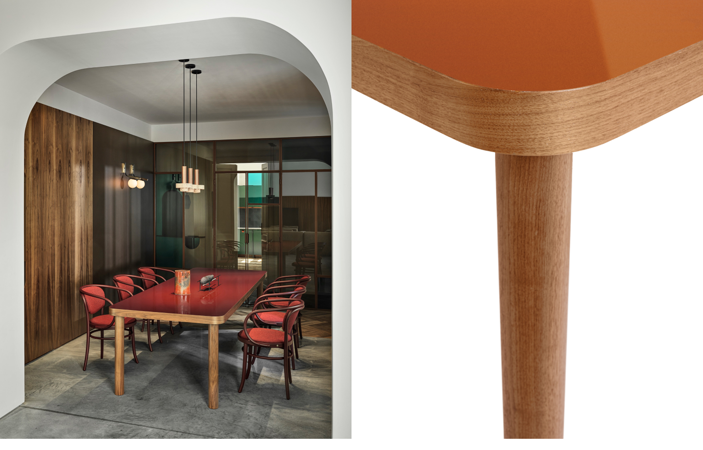 Large wooden table with lacquered table top