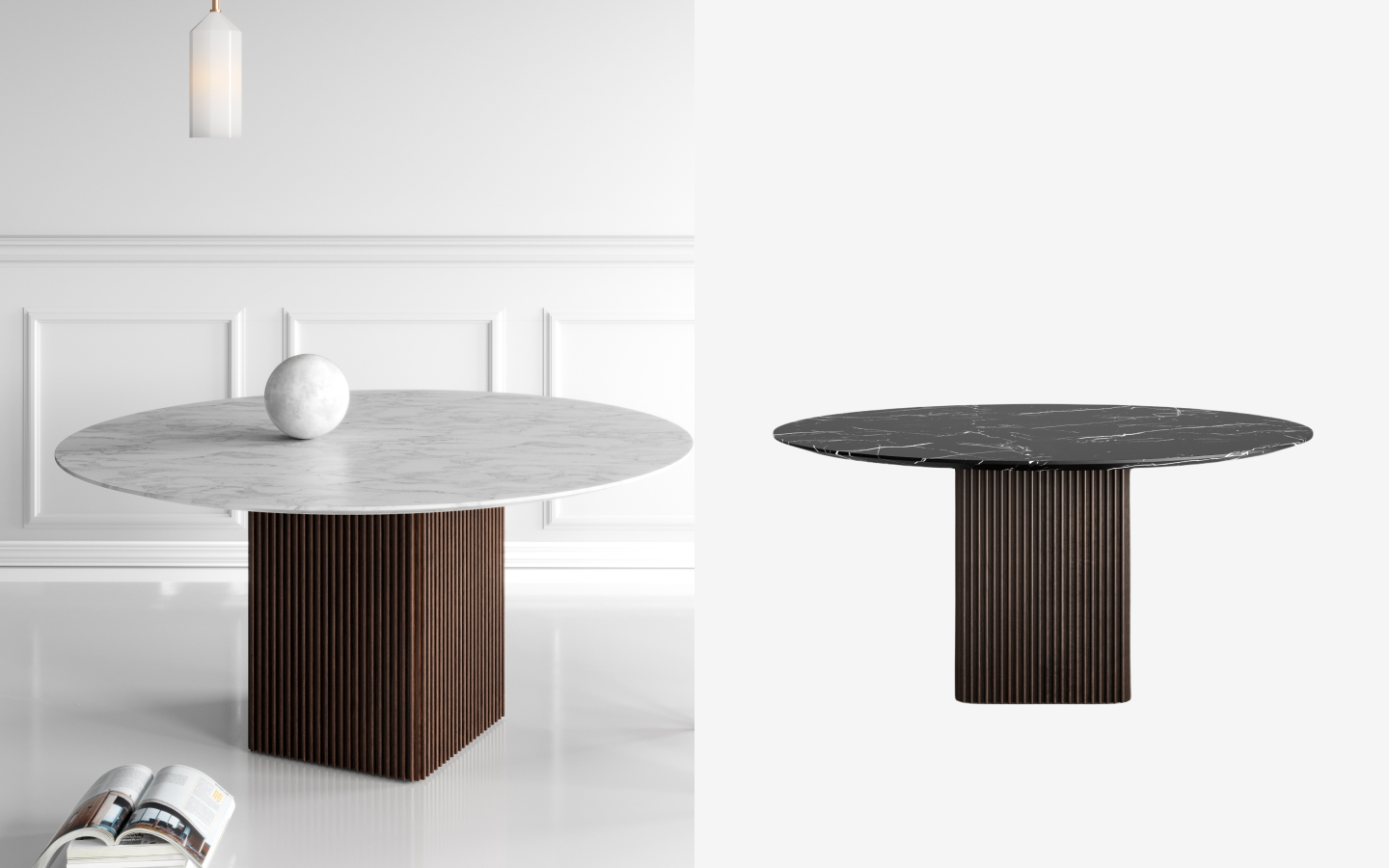 Dining table with round marble top and rectangular wooden base