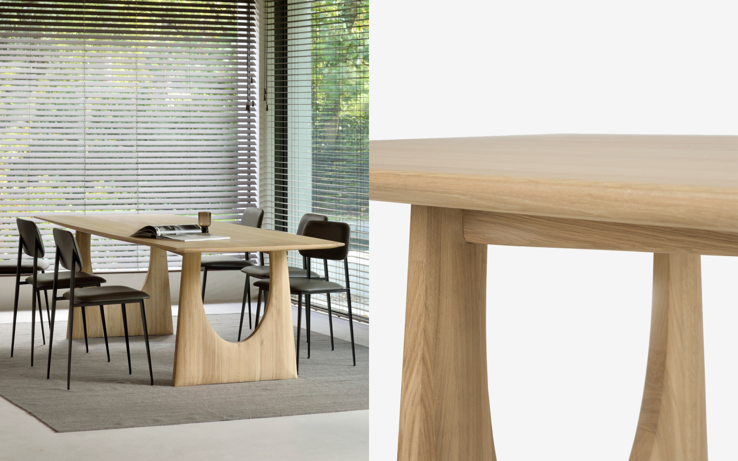 Natural solid wood conference table with u-shaped legs