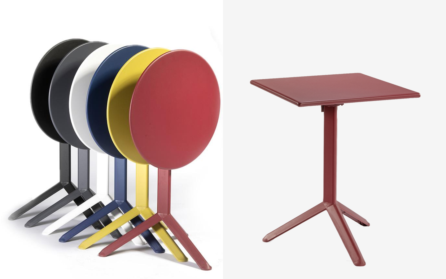 Square and round metal bistro tables with foldable top