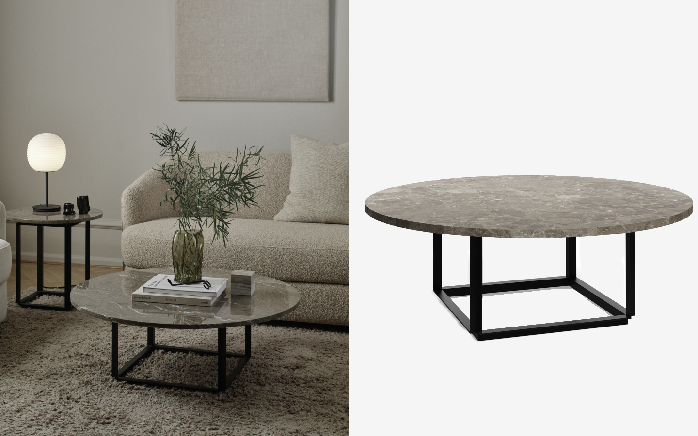 Round side table with grey marble top