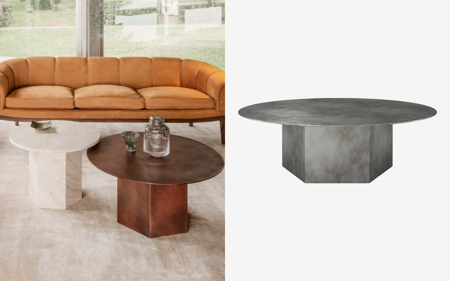 Round metal side table with hexagonal base