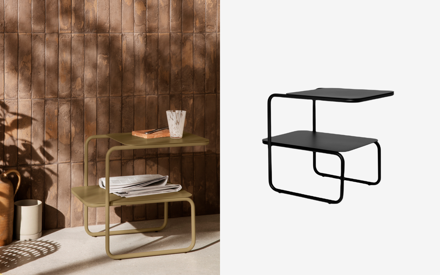 Tubular steel side table with two shelves