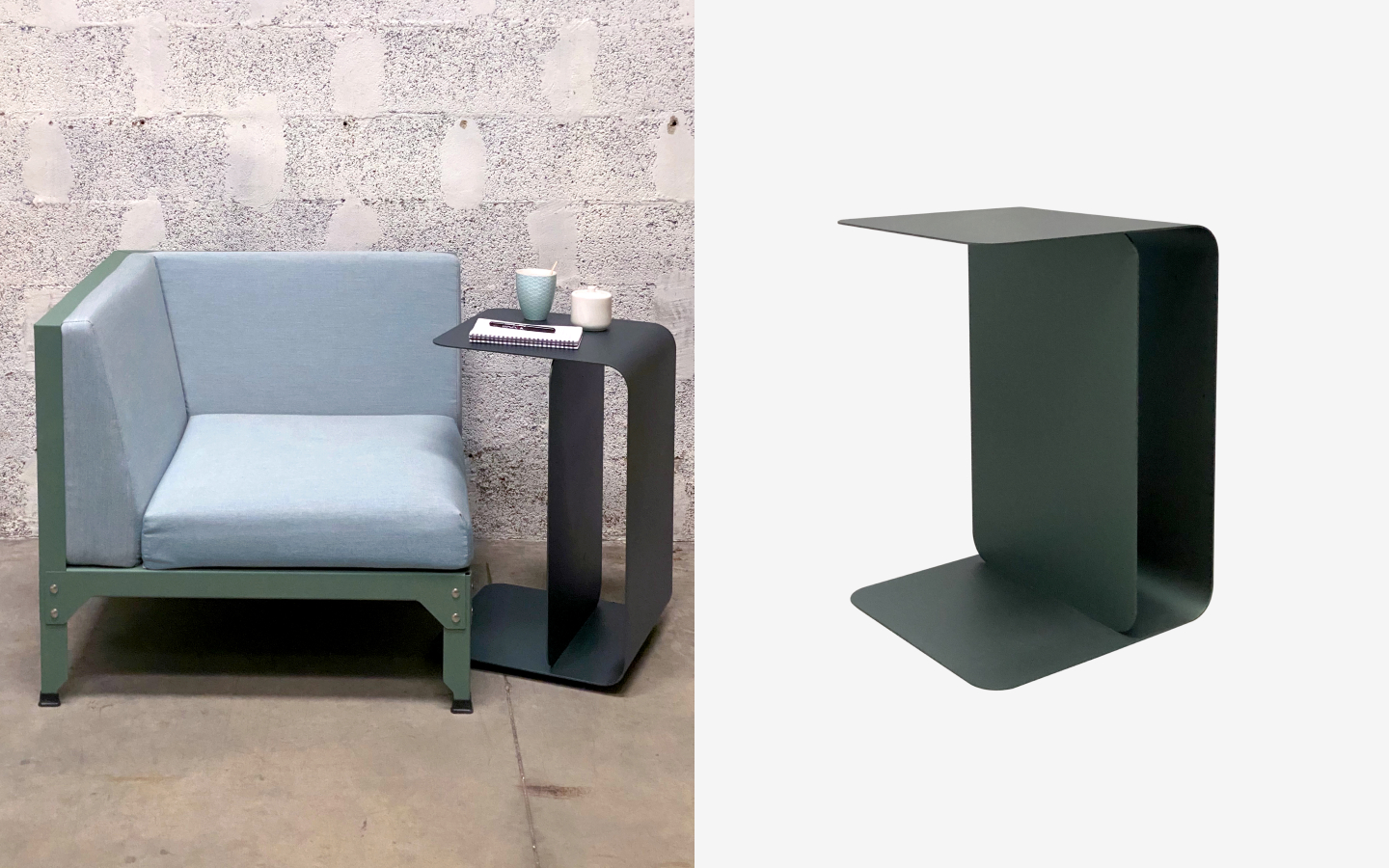 Green metal sheet side table with curved edges