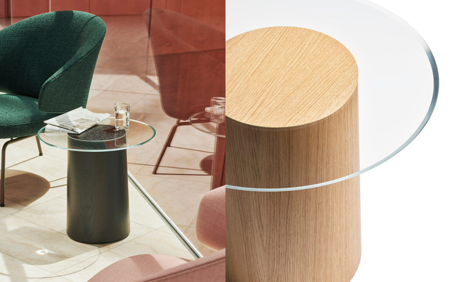 Small side table with round wooden base and glass table top