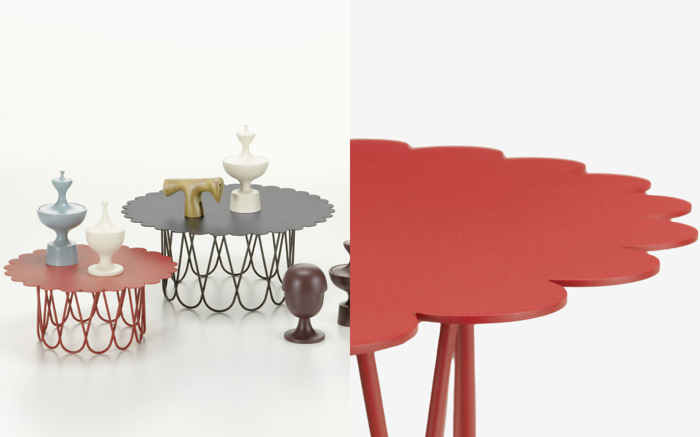 Black and red metal side tables with scalloped rim