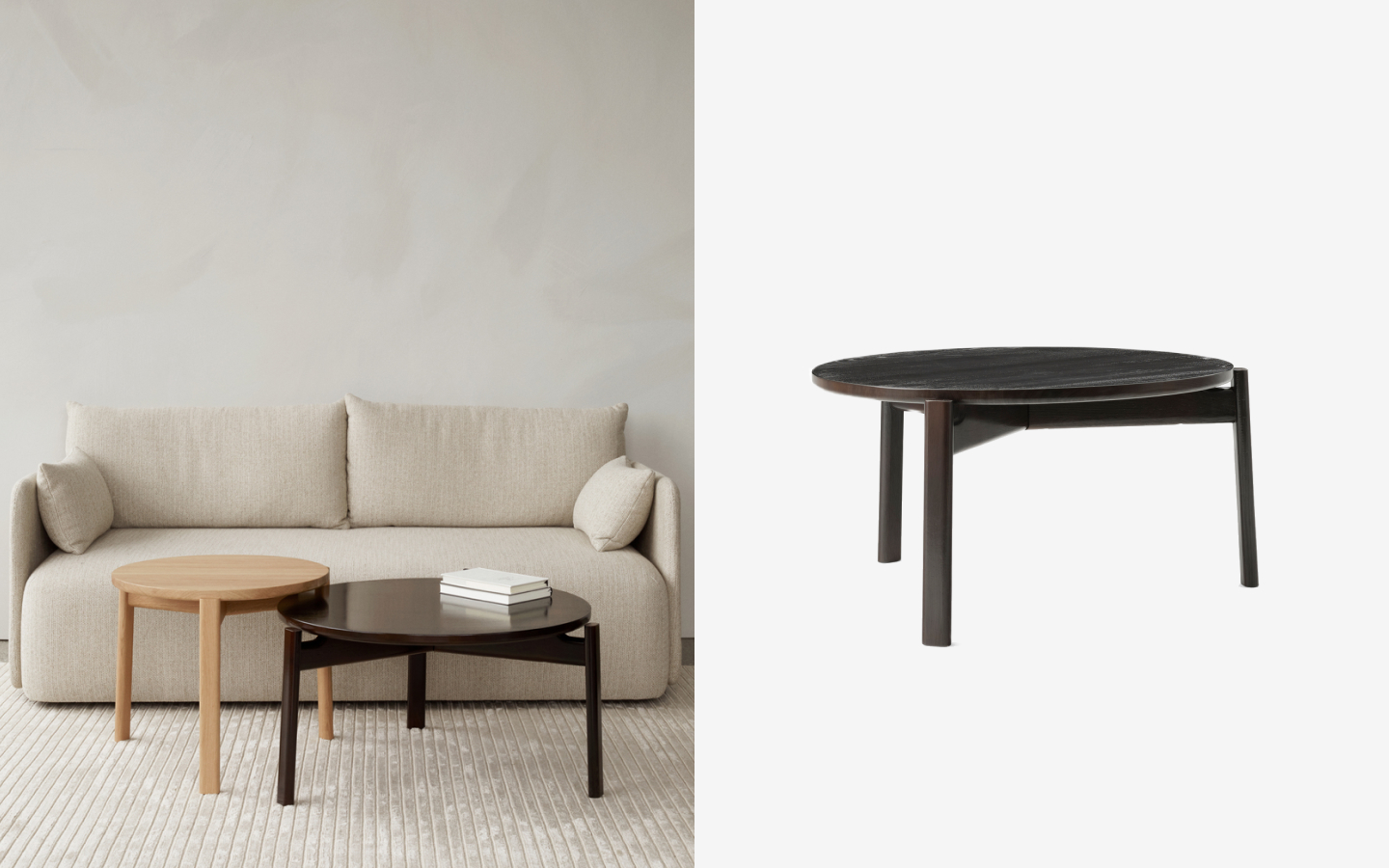 Sofa with bright and dark wood side tables