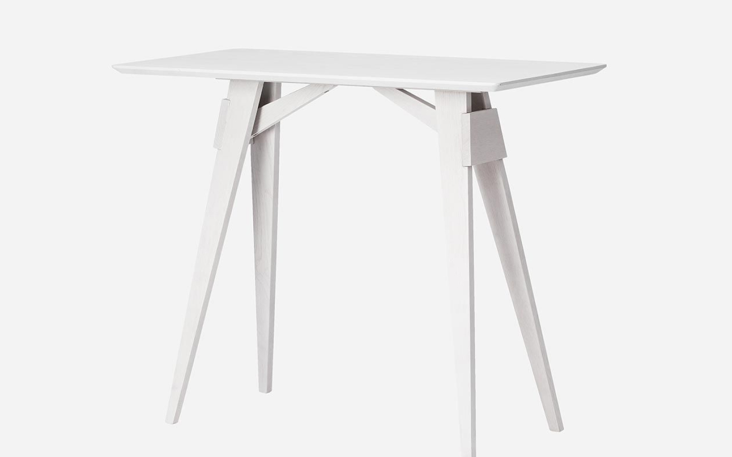 Rectangular white side table with angled legs