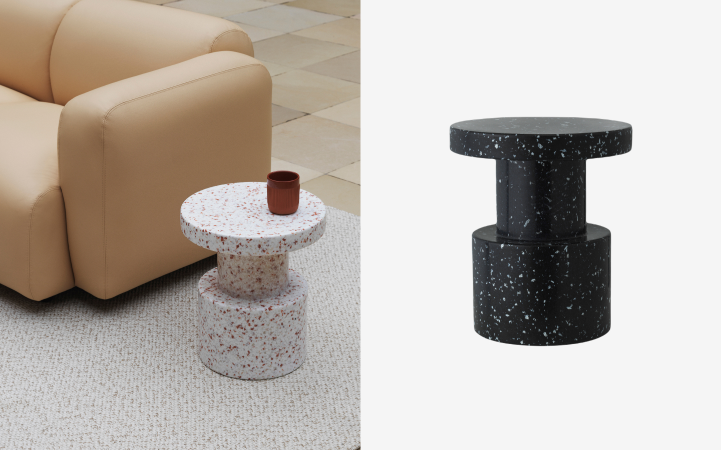 Monolithic round side table with terrazzo effect