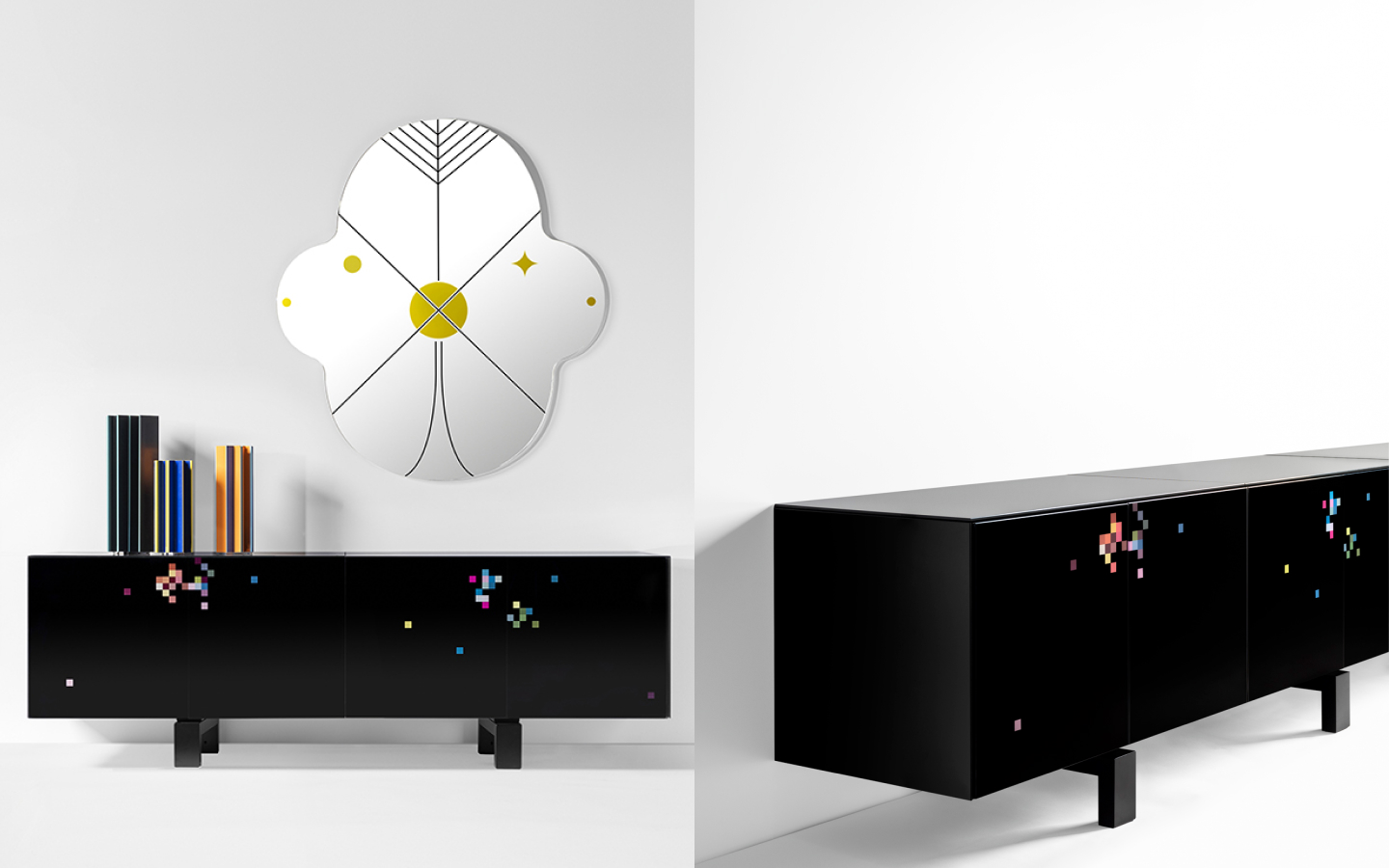 Black sideboard with colour pixel decoration