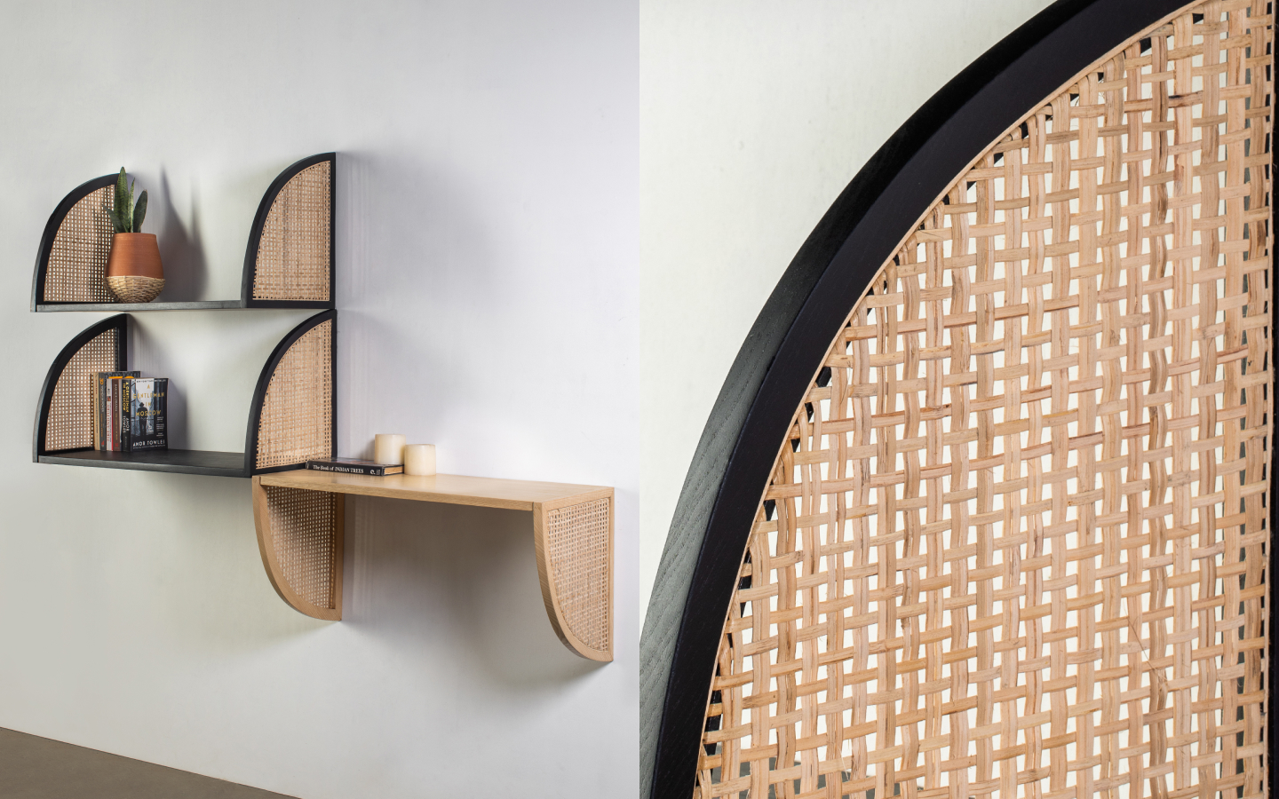 Black wooden wall shelf with woven rattan decoration
