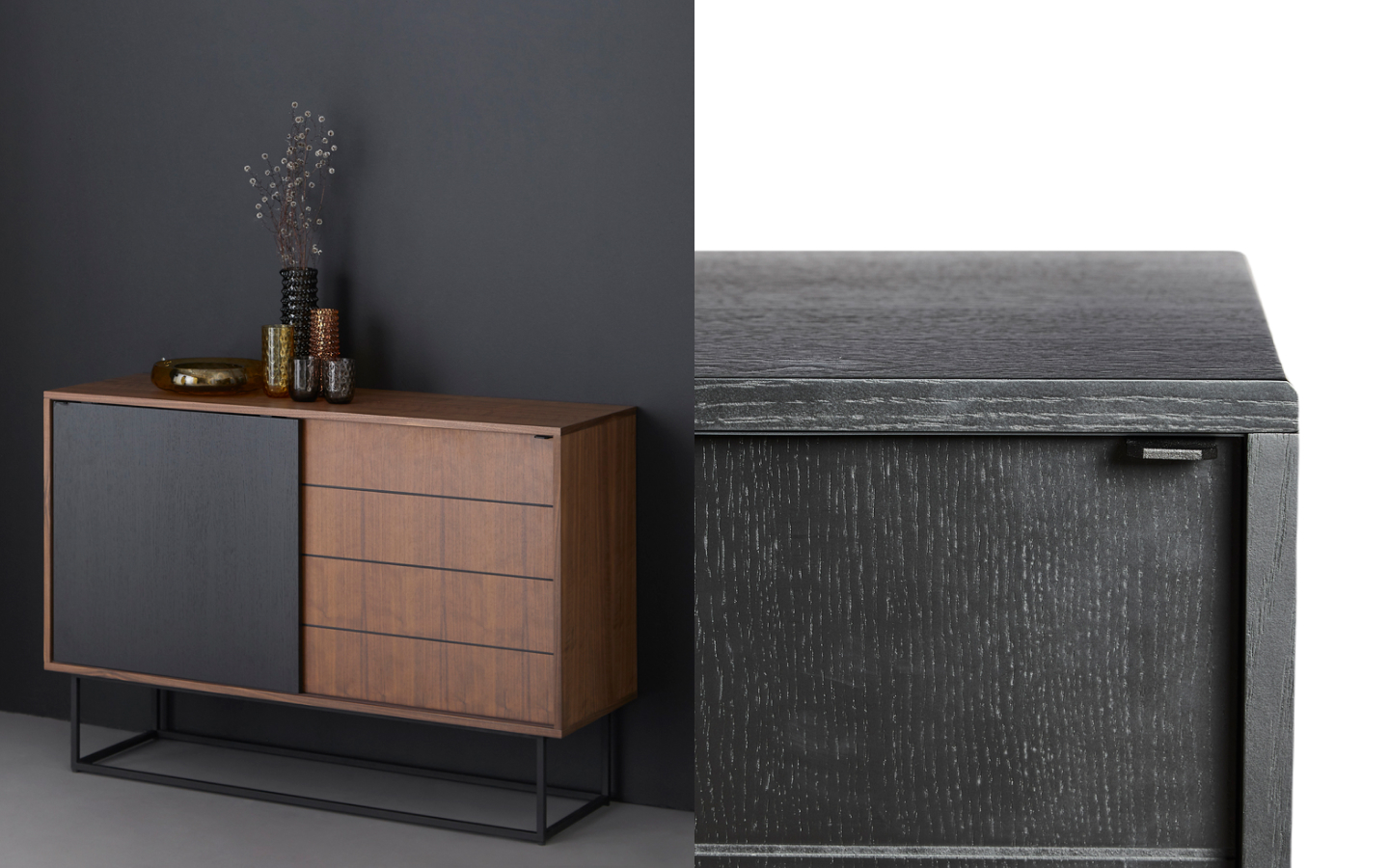 Walnut sideboard with black sliding door