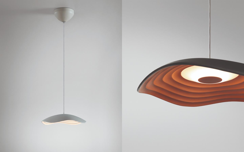 Organic shaped white metal pendant light
