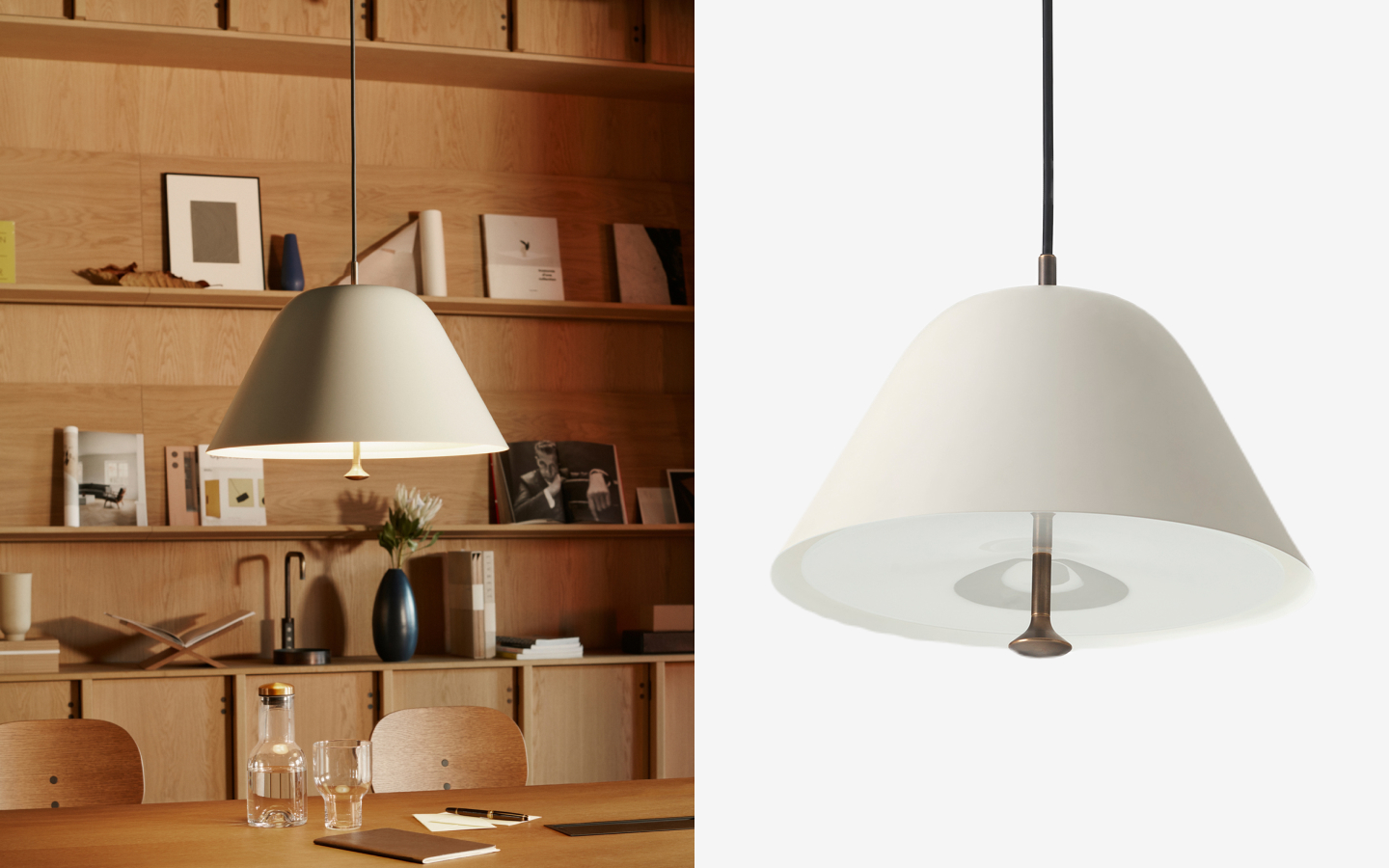 Offwhite metal pendant with brass detail and black cord