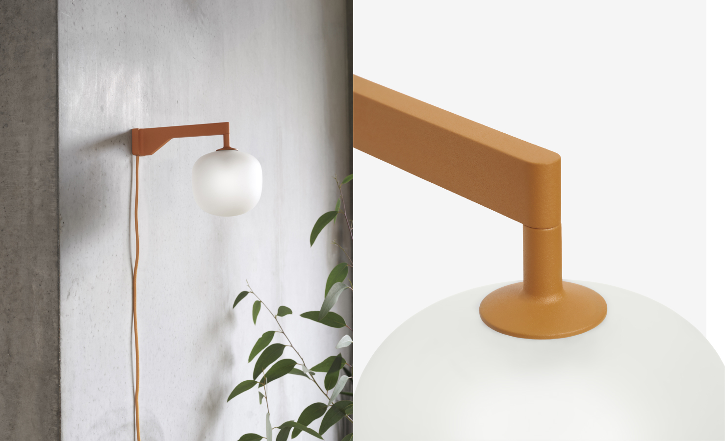 Wall light with orange stem and opaque glass sphere