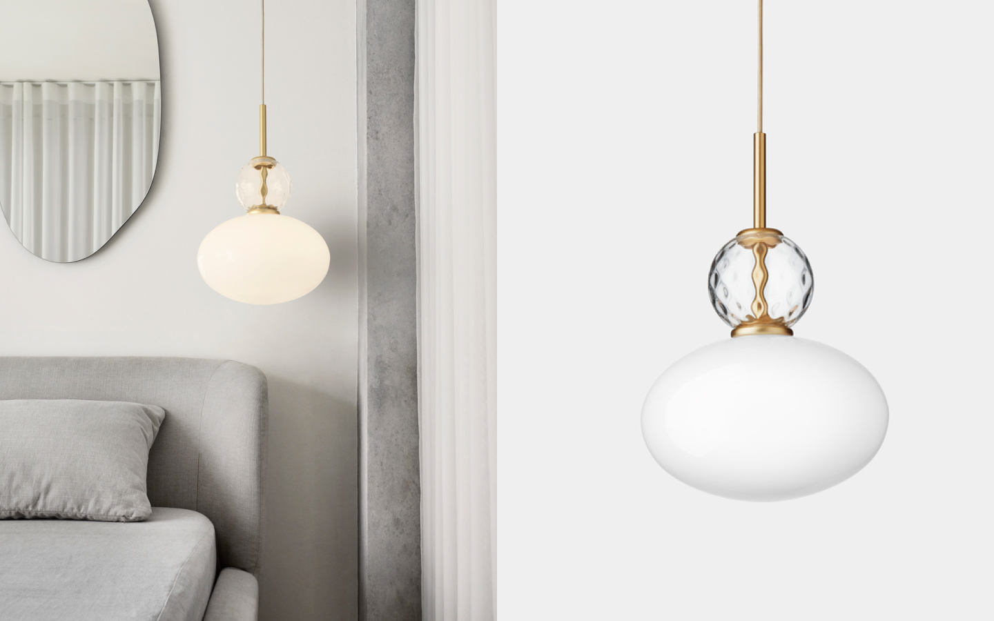 Pendant light with opaque glass shade and decorative textured glass bulb