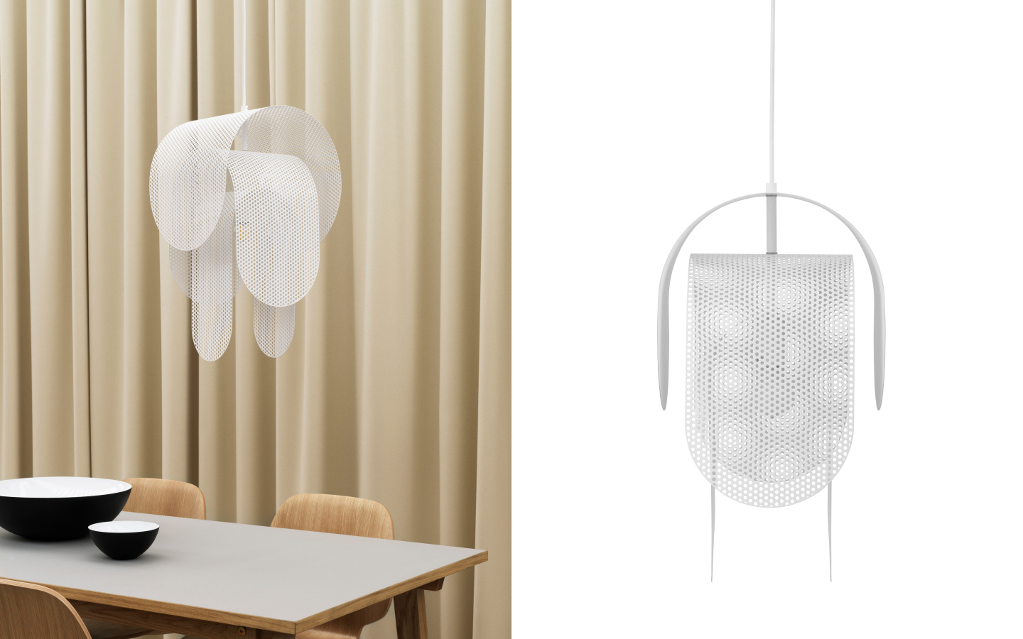 White pendant with curved perforated metal panels
