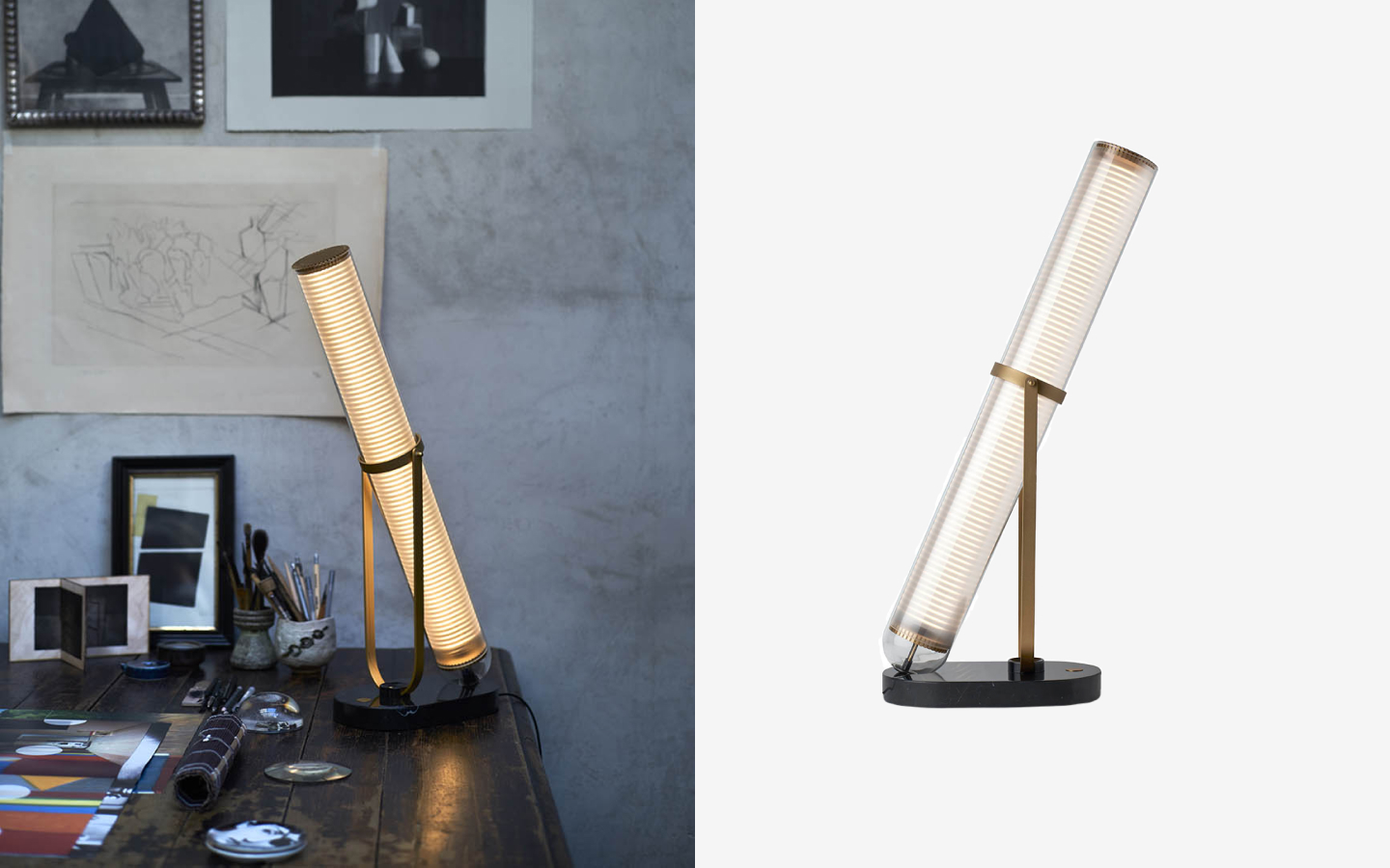 Table lamp with light tube, brass details and black marble base