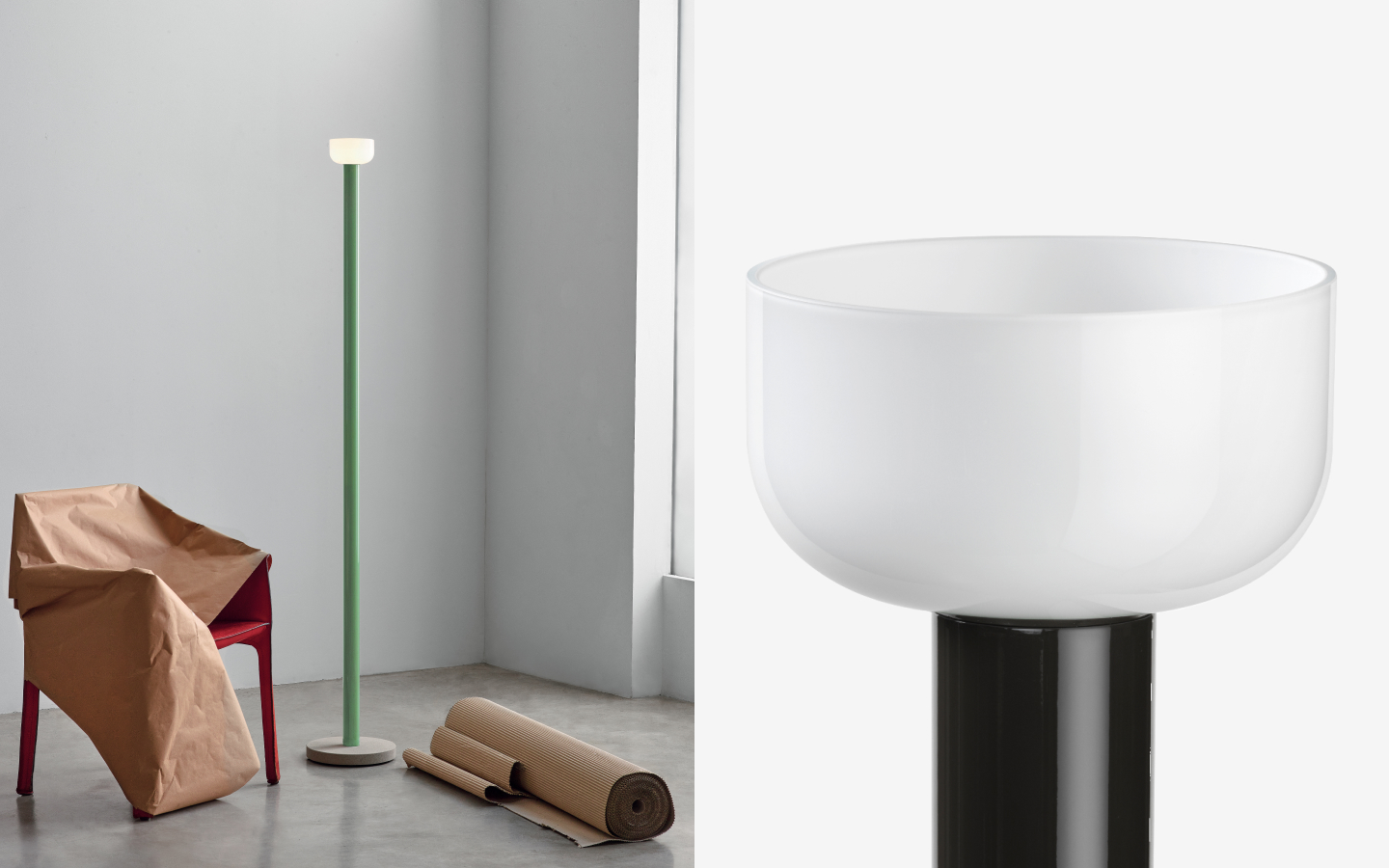tall green floor light with bowl-shaped shade