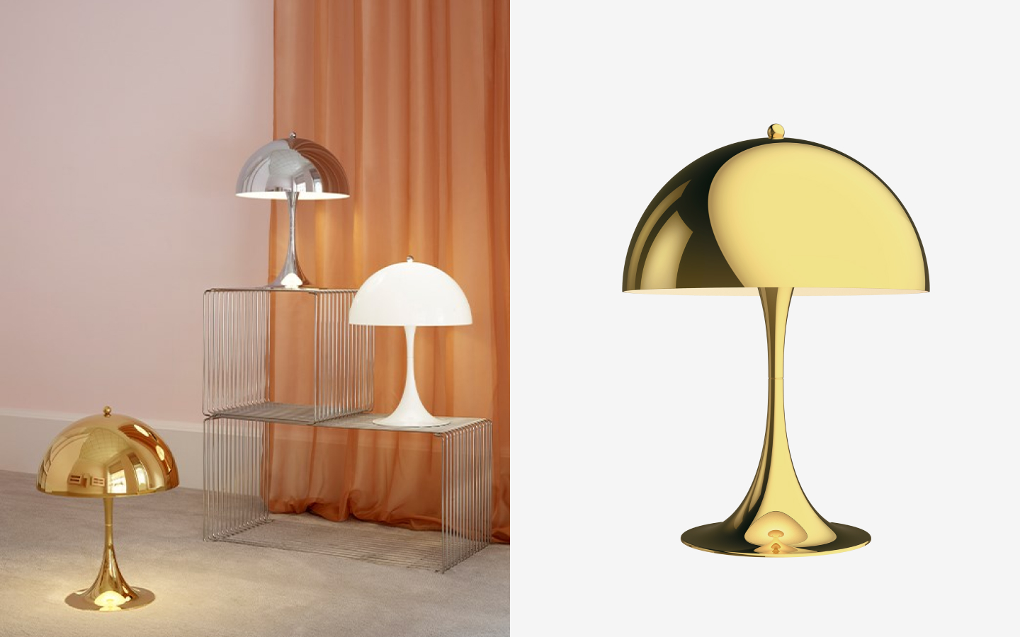 Mushroom-shape table lights in shiny silver, brass and white finishes