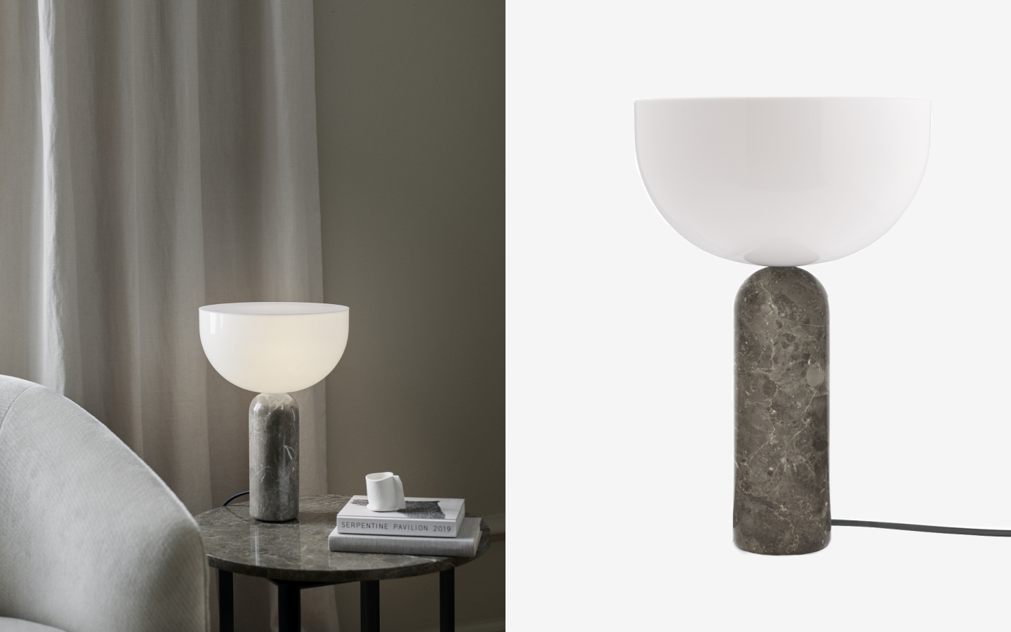 Table light with grey marble base and glass shade