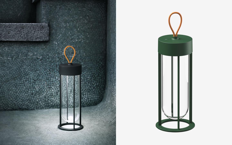 Wireless round lanterns in green and black