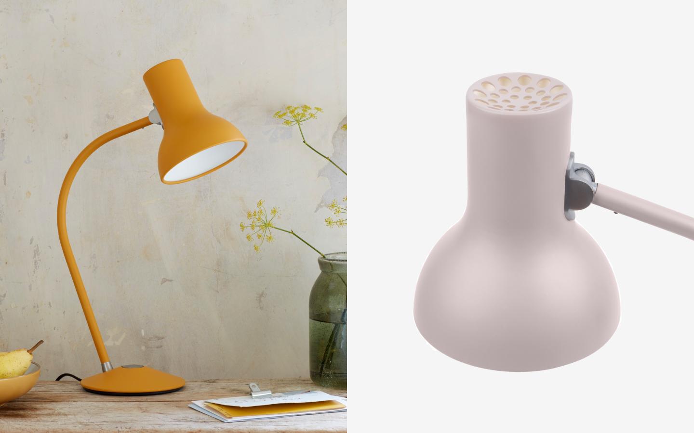 Small metal table light in mustard yellow