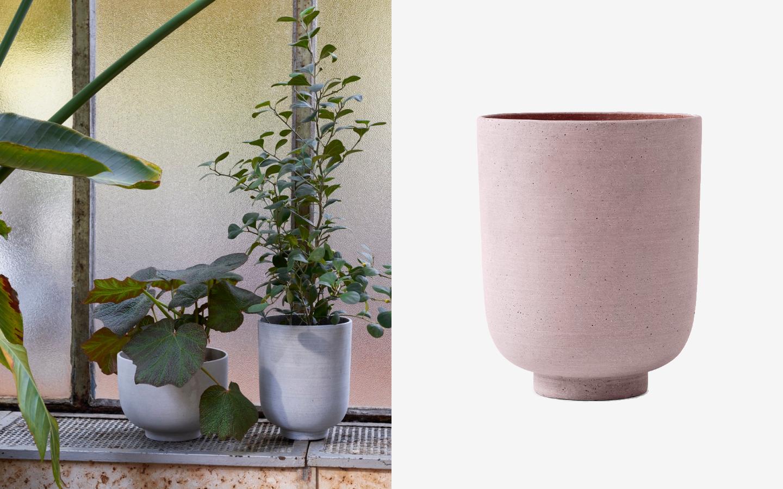 Pink concrete planter