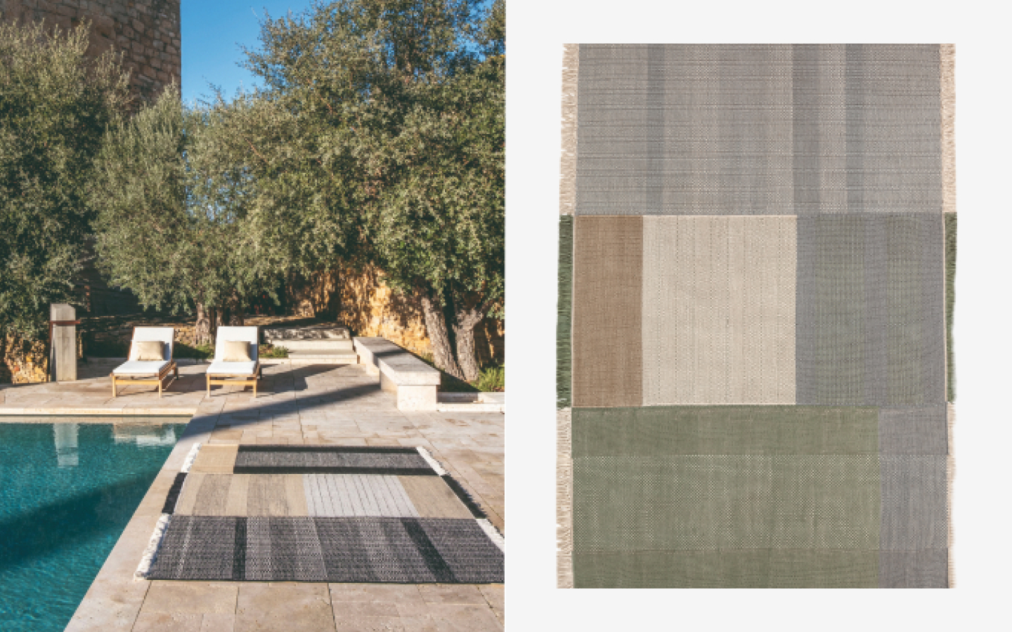 Outdoor rug with patchwork pattern and small fringes on two sides