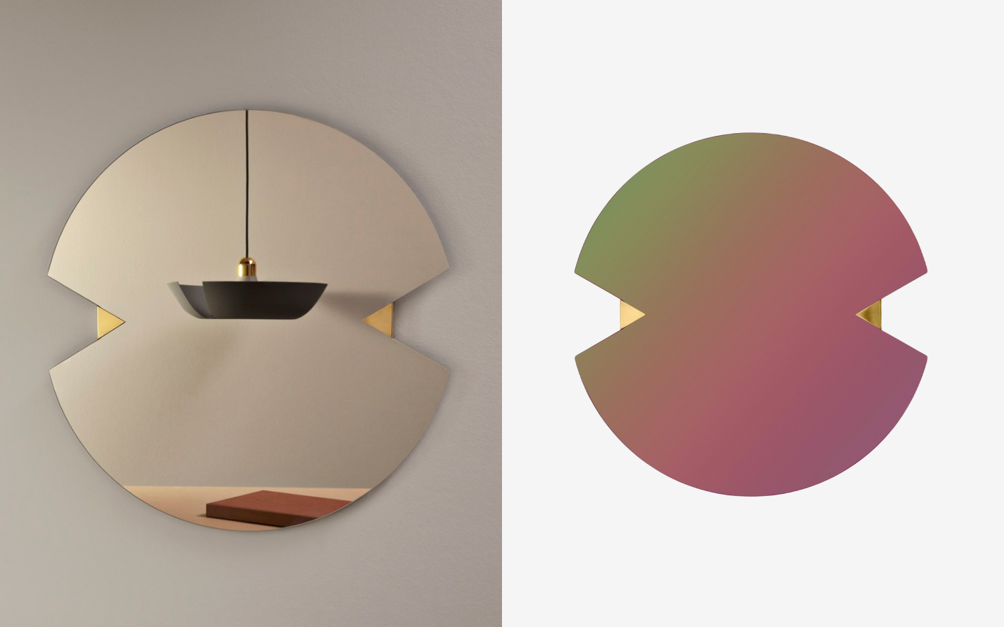 Round mirror with wedge shaped cut-outs, polished brass details and tinted glass