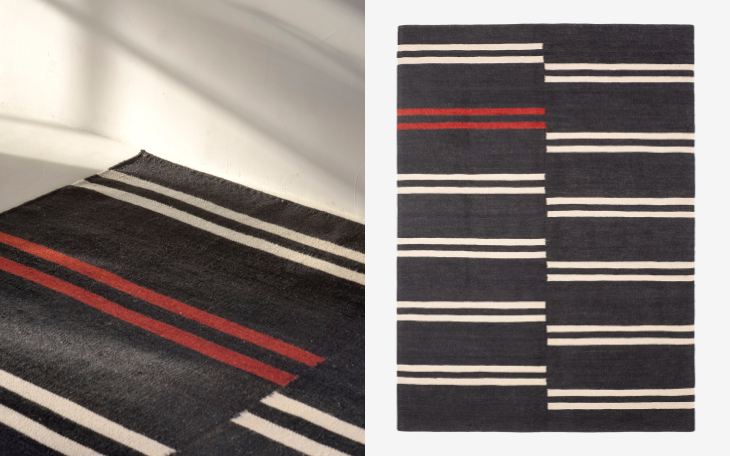 Blue kilim rug with red and white stripes