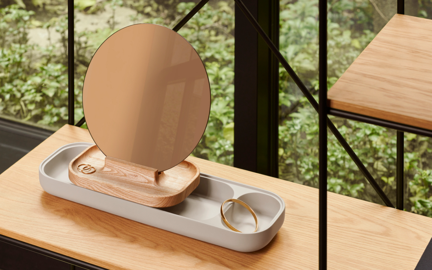 Round table mirror with wooden tray base
