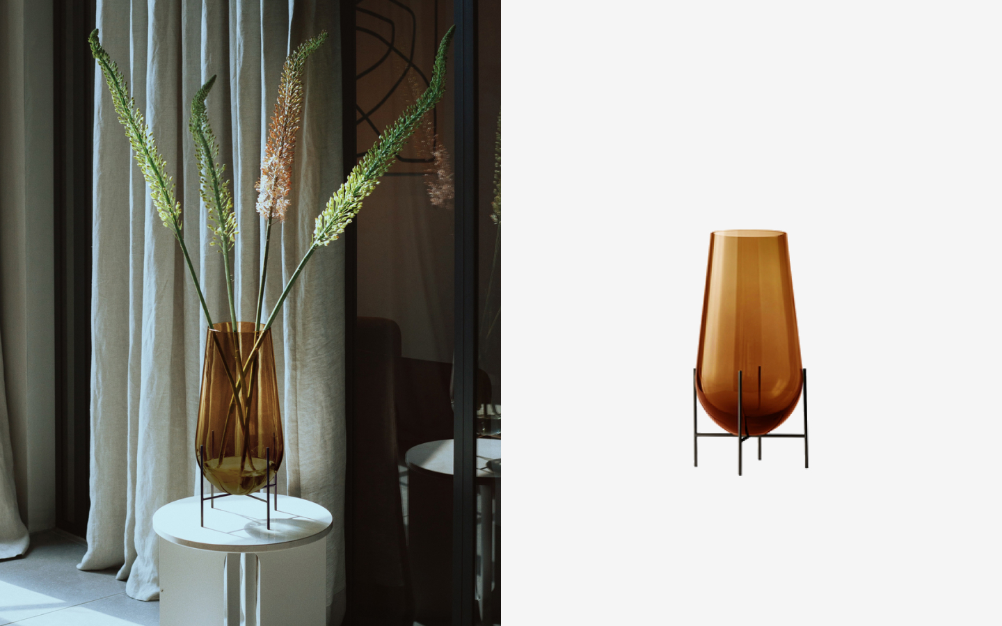 Amber glass vase with metal base