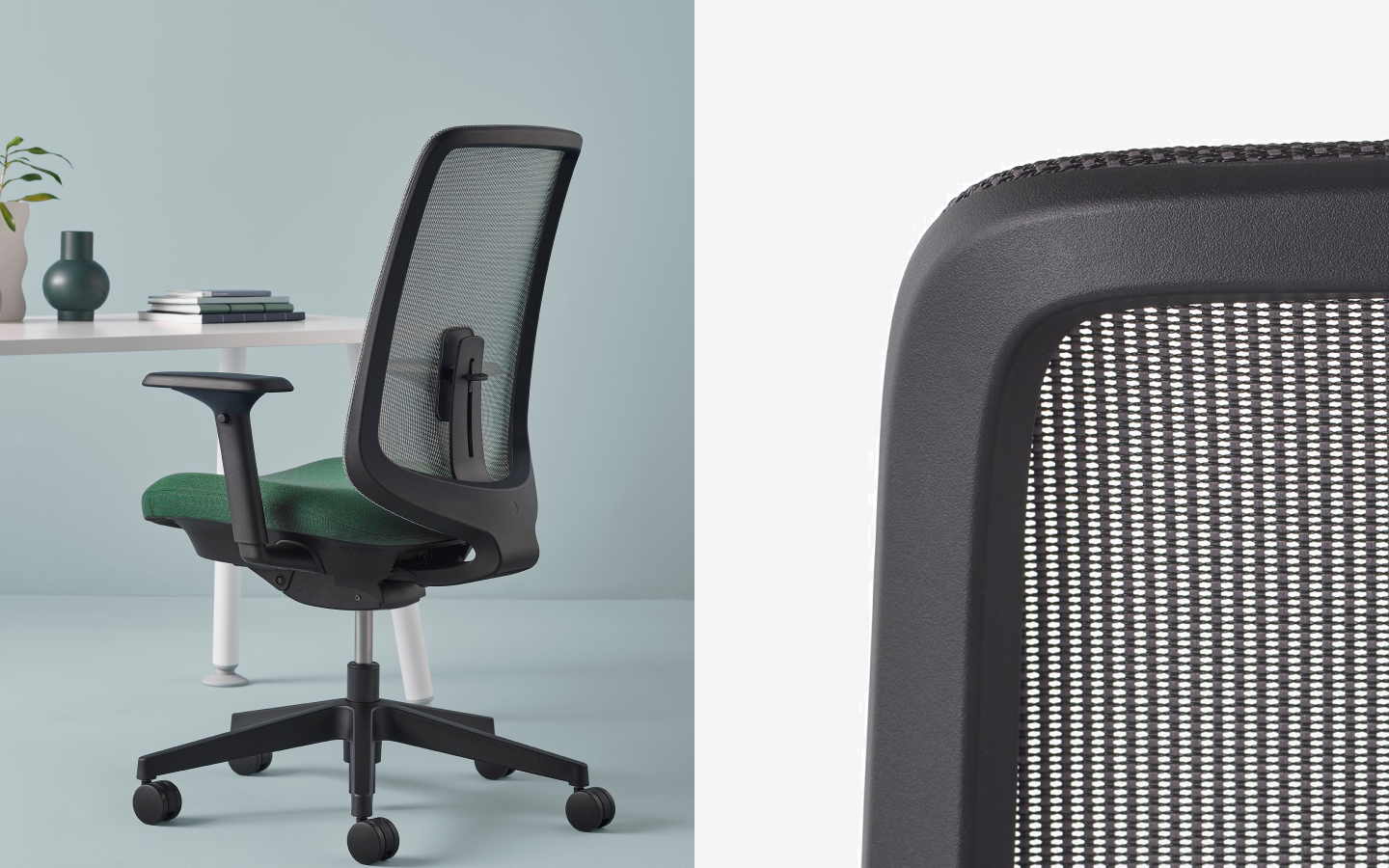 Black office swivel chair with webbing