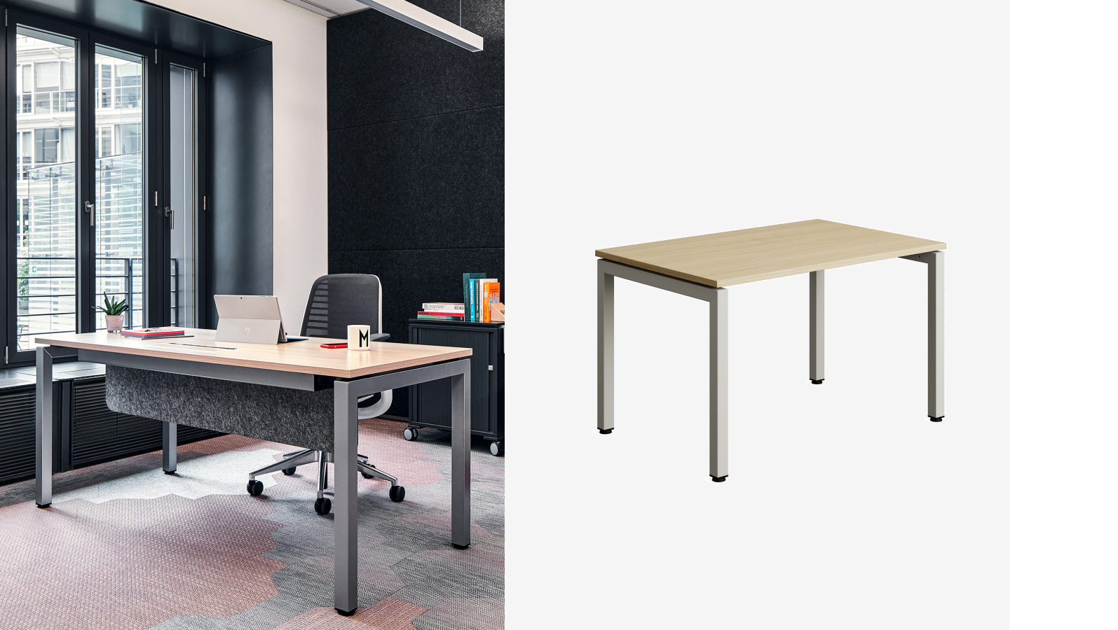 Office desk with wooden top and steel legs
