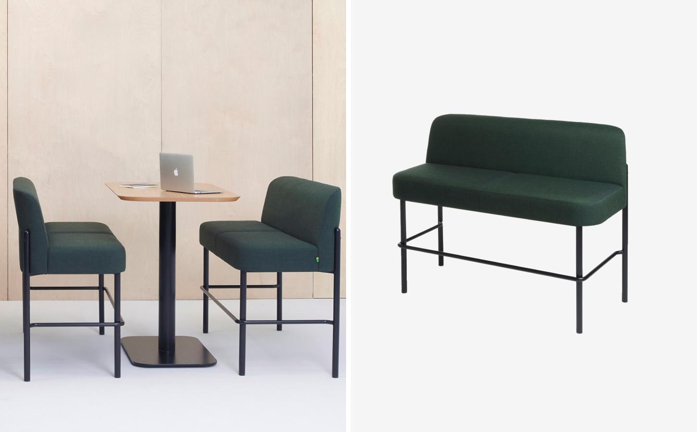 Dark green tall office sofas