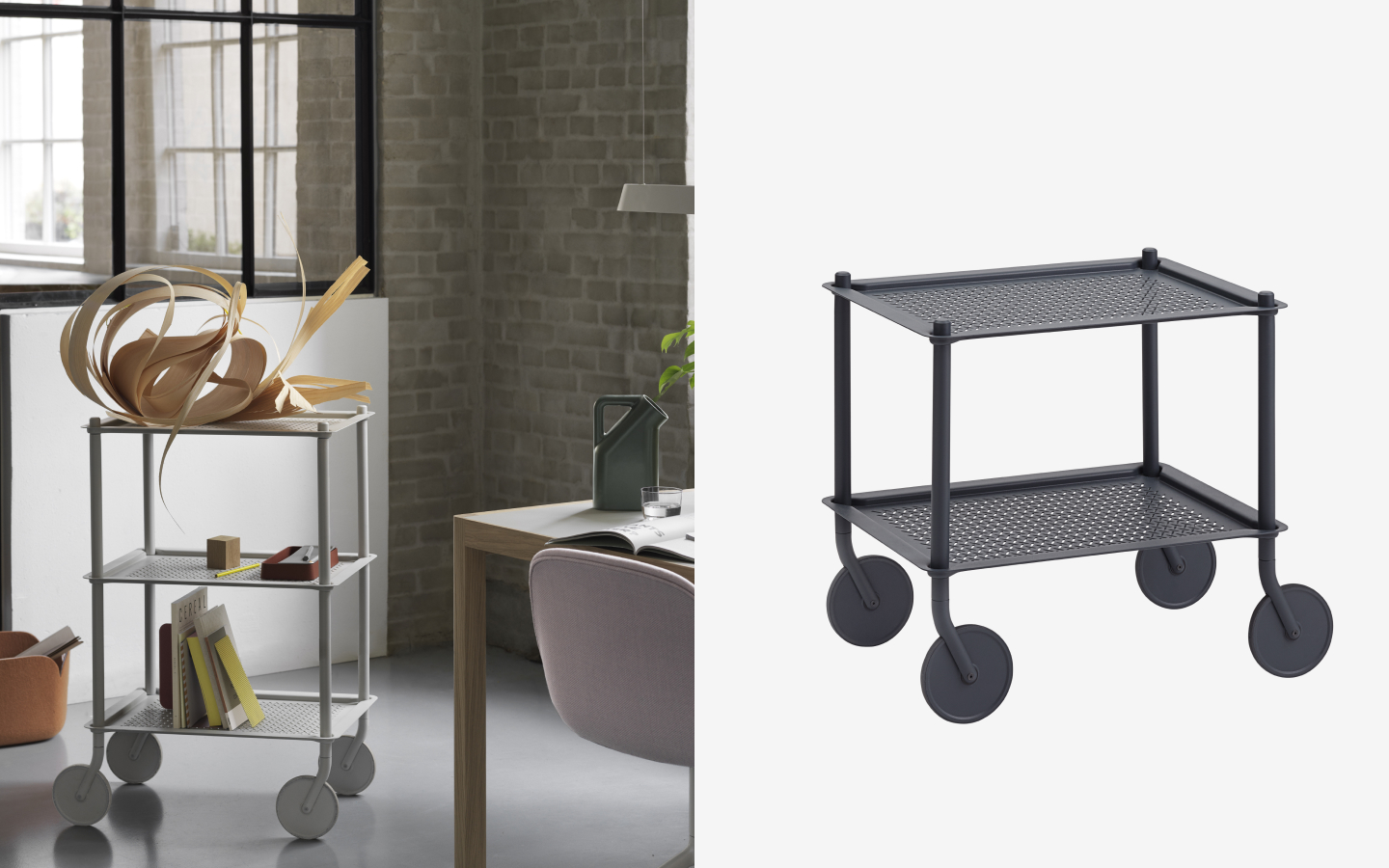 Trolleys with perforated metal shelves in light and dark grey