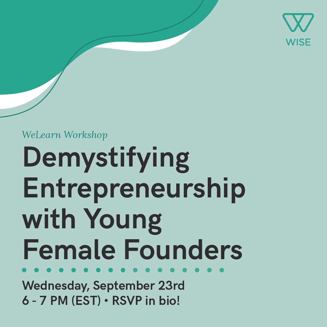 """Event flyer for """"Demystifying Entrepreneurship with Young Female Founders""""."""