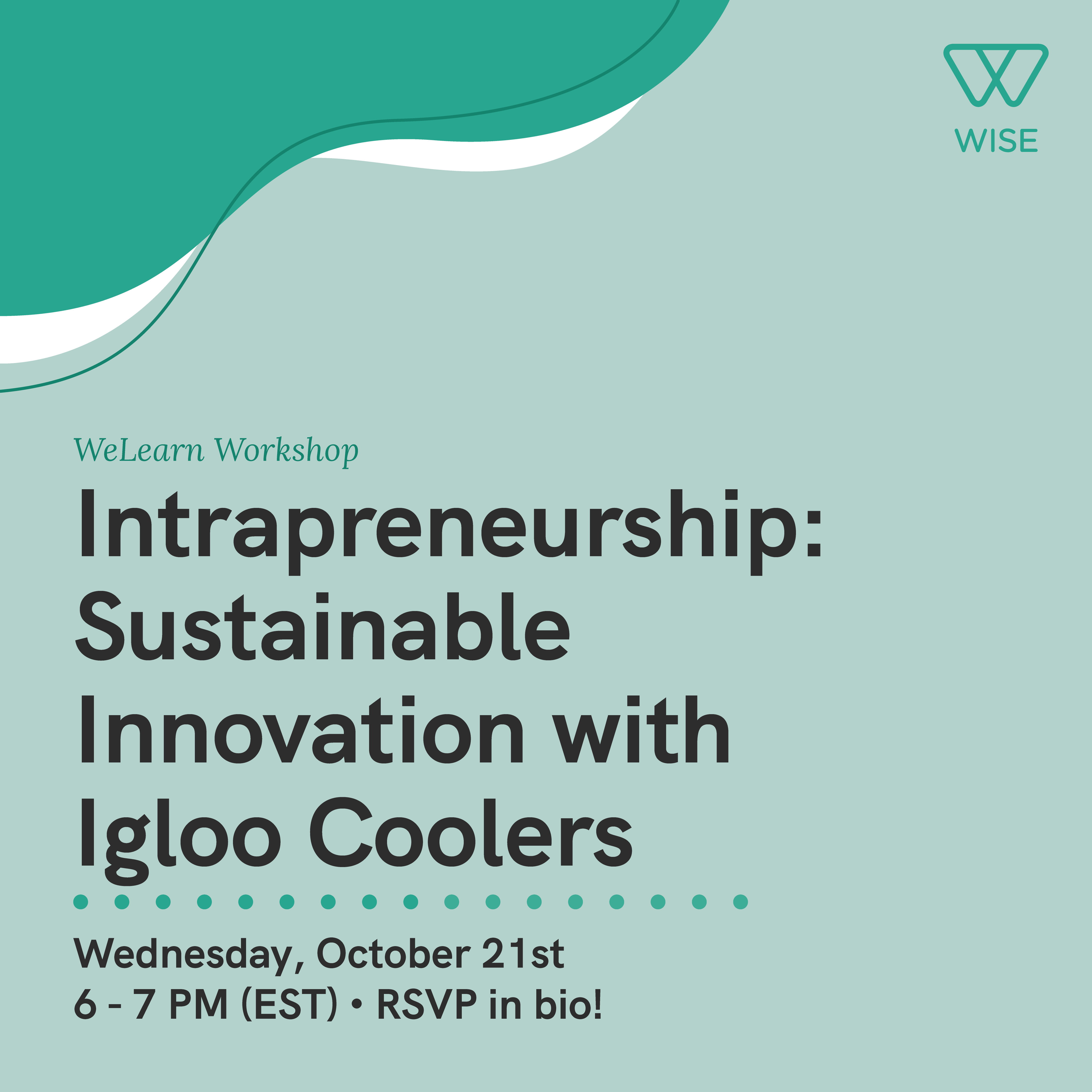 """Event flyer for """"Intrapreneurship: Sustainable Innovatopn with Igloo Coolers""""."""