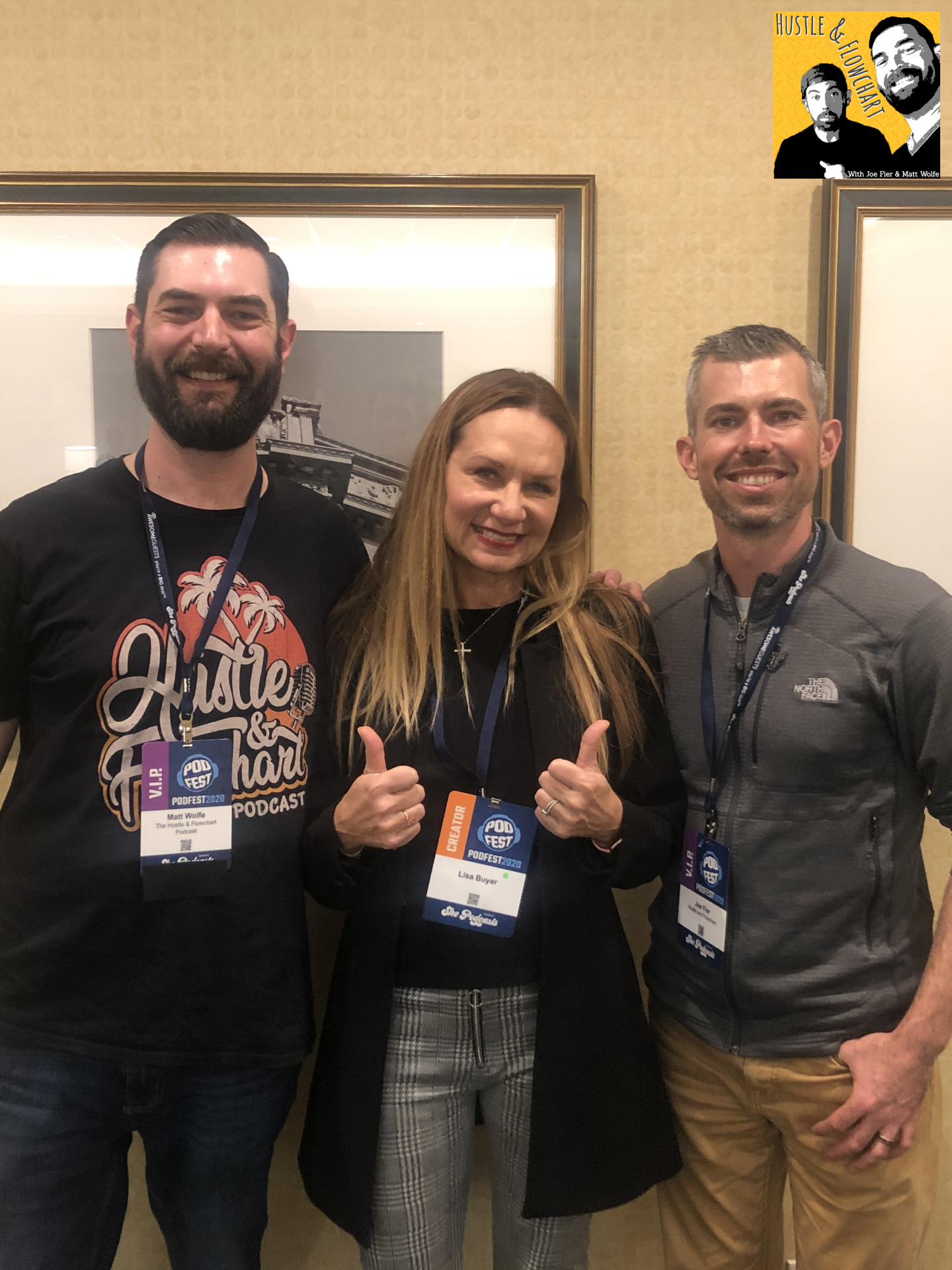Lisa Buyer with Hustle and Flowchart hosts at Podfest