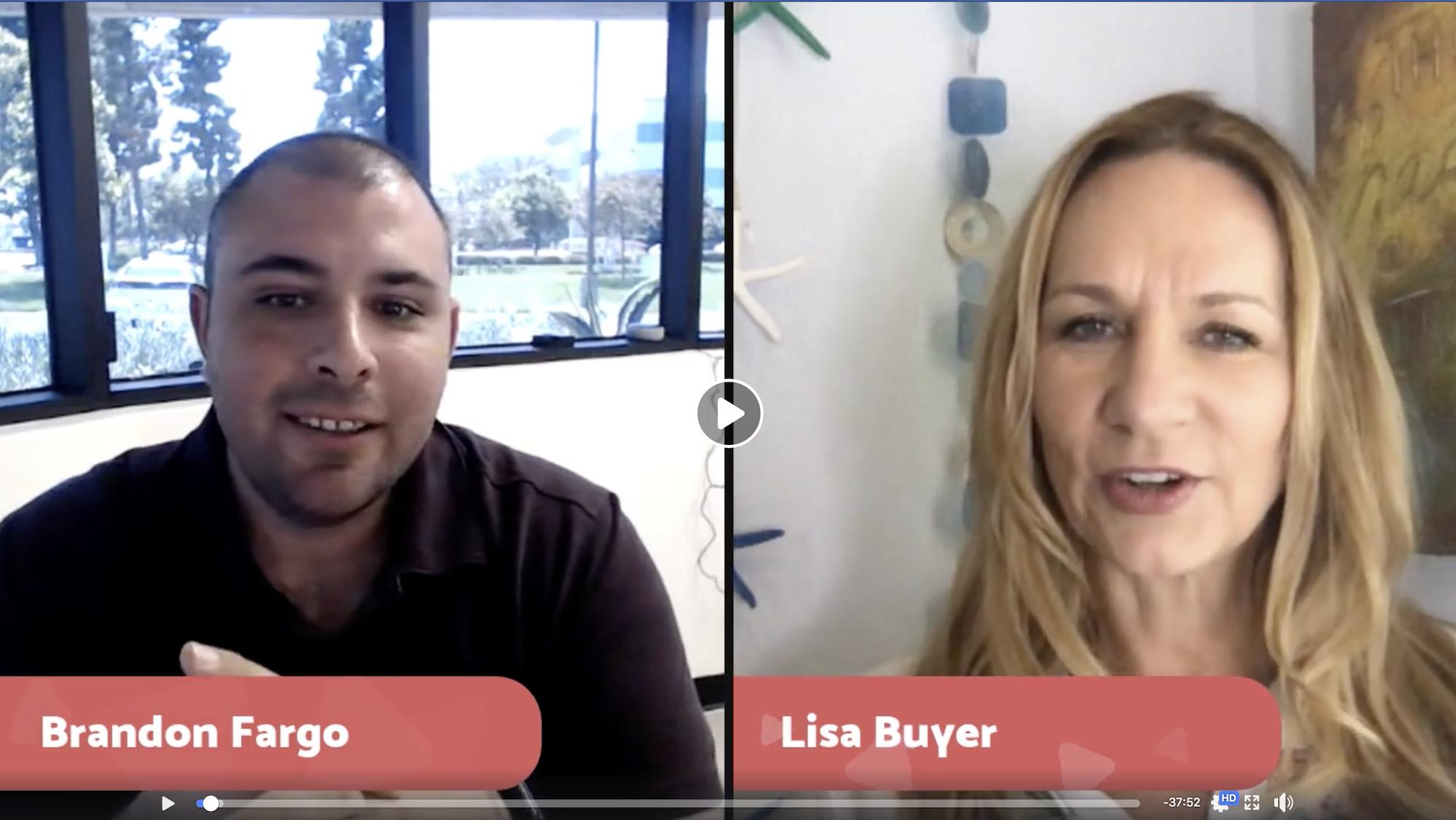 Lisa Buyer interviewing brandon fargo through video call